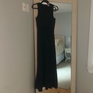 H&M Dresses - Lux Black Formal Gown H&M size 2 leather and beads